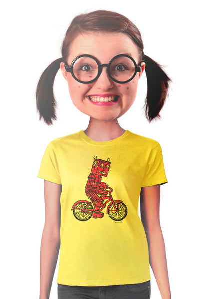 red robot bicycle womens t-shirt