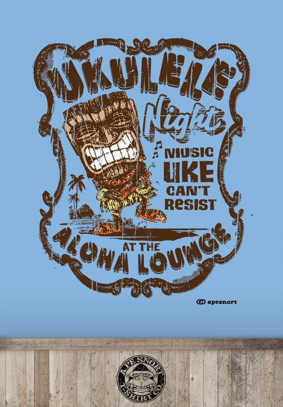 ukulele night at the tiki bar womens t-shirt