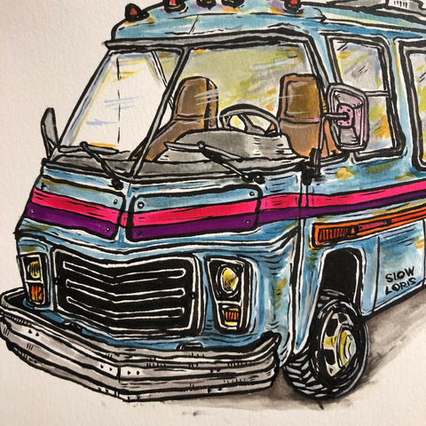 Original Painting, Blue GMC RV