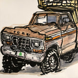 Original Painting, Ford Truck camper
