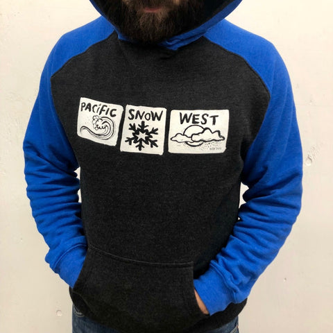 Pacific Snow West on hooded pullover sweatshirt