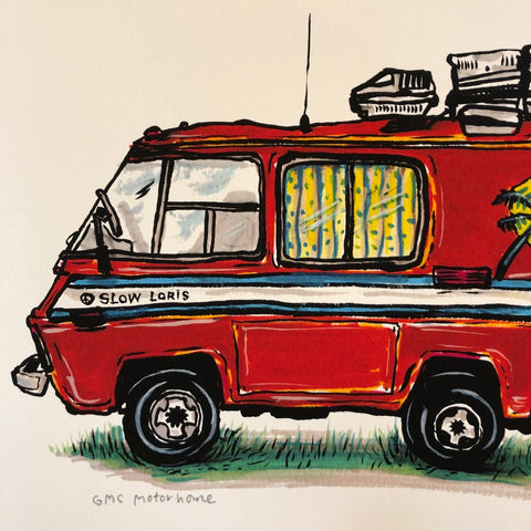 Old Orange Motorhome Print