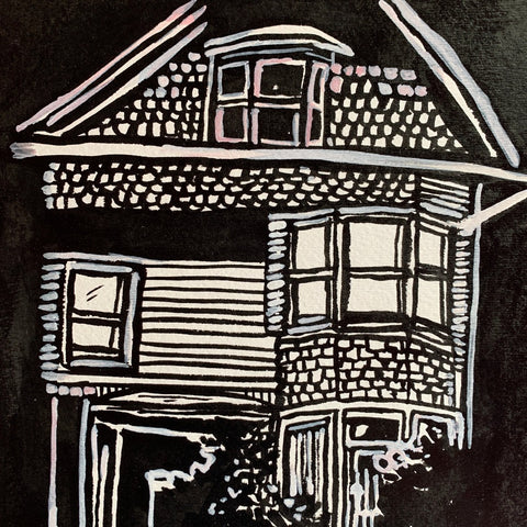 Original ink Painting, Old House on the hill