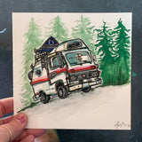 Original Painting, Tent top camper van