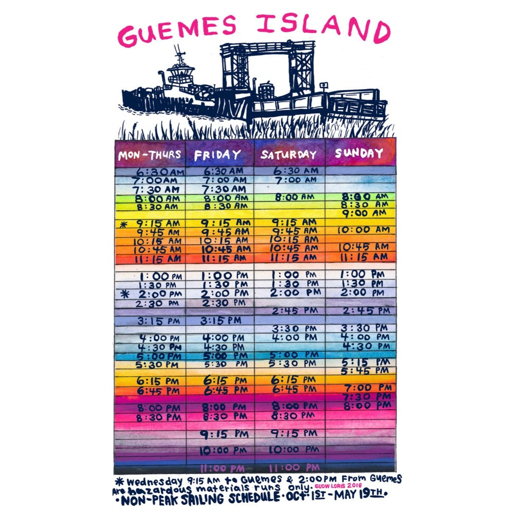 Guemes Ferry Schedule Print Slow Loris Studio