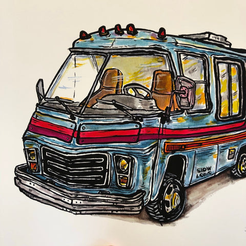 Old Blue Motorhome Print