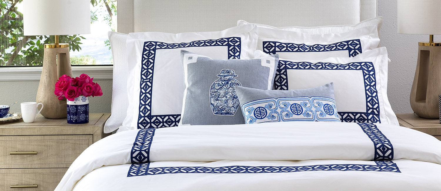 ORIENTAL CHAIN SM RECT PILLOW BLUE LINEN WHITE/BLUE EMBROIDERY 14X22 (INSERT INCLUDED)