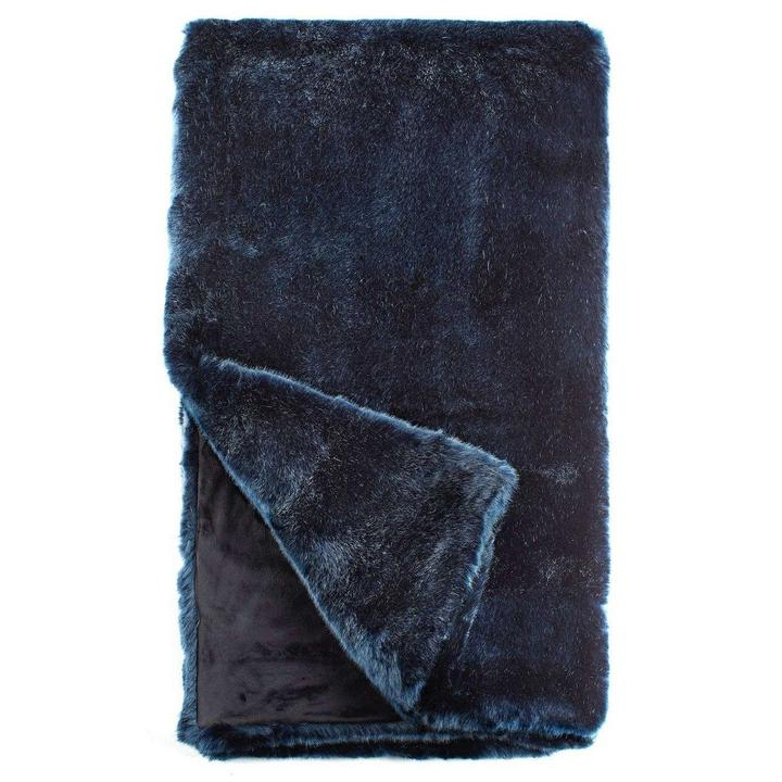 PEACOCK ALLEY MILA LUXURY FAUX FUR THROW  BLUE MINK