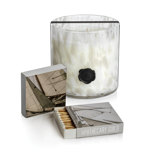 APOTHECARY GUILD OPAL GLASS CANDLE JAR GIFT SET:  GARDENIA