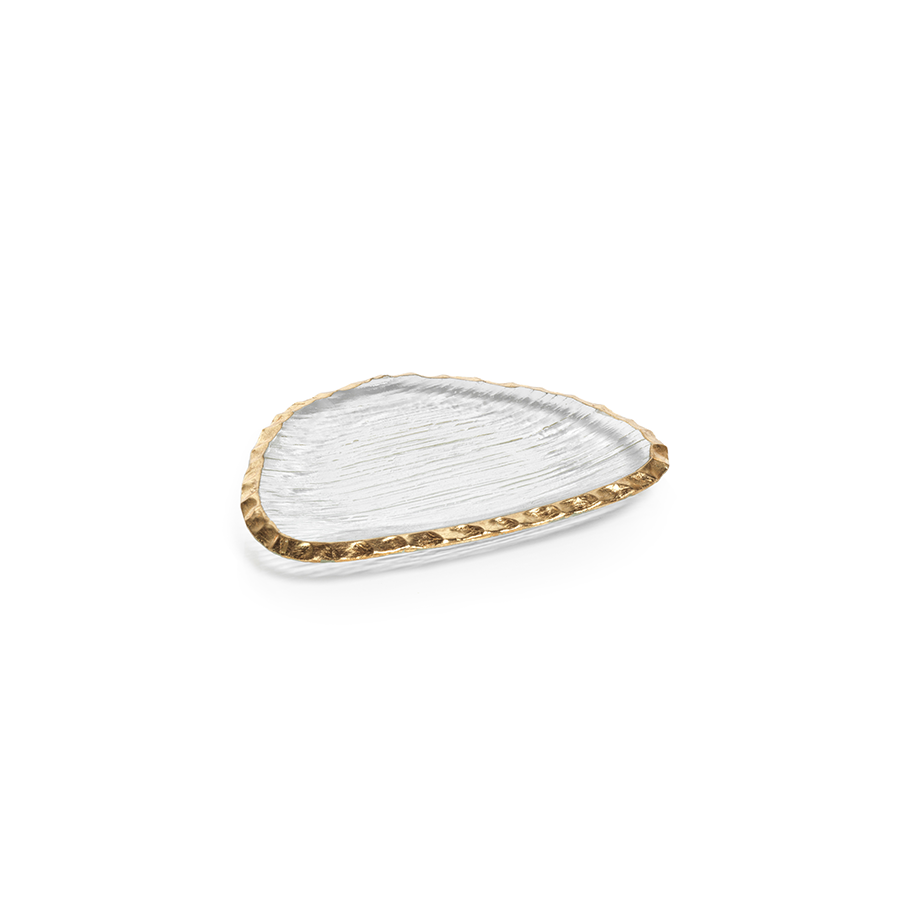 CLEAR TEXTURED ORGANIC SHAPE PLATE WITH JAGGED GOLD RIM - SMALL