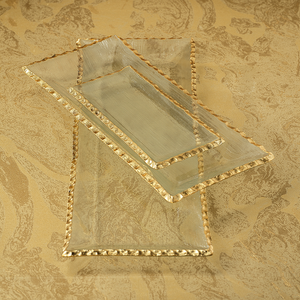 CLEAR TEXTURED RECTANGULAR TRAY WITH JAGGED GOLD RIM - MEDIUM