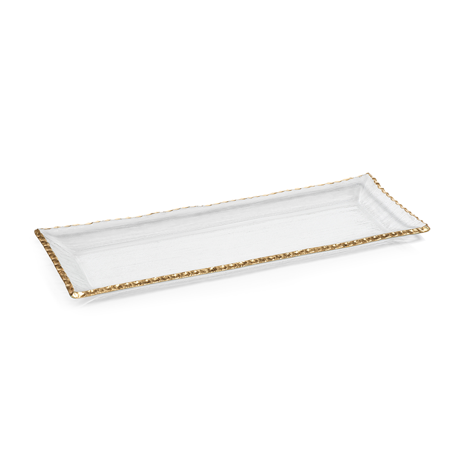 CLEAR TEXTURED RECTANGULAR TRAY WITH JAGGED GOLD RIM - LARGE