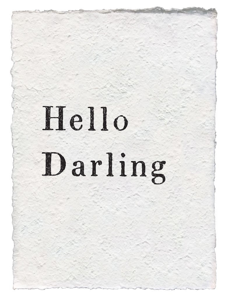 "SUGARBOO DESIGNS HANDMADE PAPER PRINT ""HELLO DARLING"""