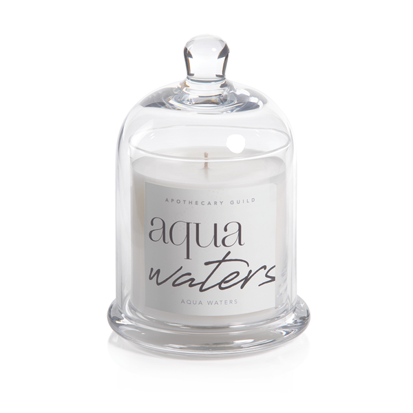 APOTHECARY GUILD SCENTED CANDLE JAR - WITH GLASS DOME:  AQUA WATERS