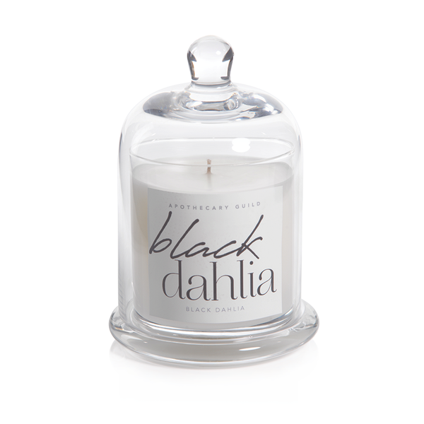 APOTHECARY GUILD SCENTED JAR CANDLE WITH GLASS DOME: BLACK DAHLIA