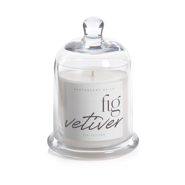 APOTHECARY GUILD SCENTED CANDLE JAR WITH GLASS DOME:  FIG VETIVER