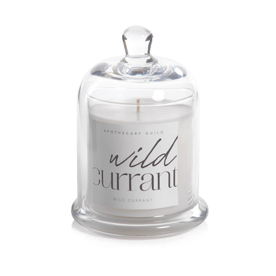 APOTHECARY GUILD SCENTED CANDLE WITH GLASS DOME:  WILD CURRANT