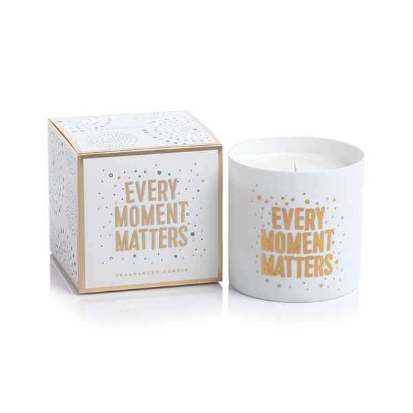 APOTHECARY GUILD PORCELAIN SCENTED CANDLE JAR:  EVERY MOMENT MATTERS