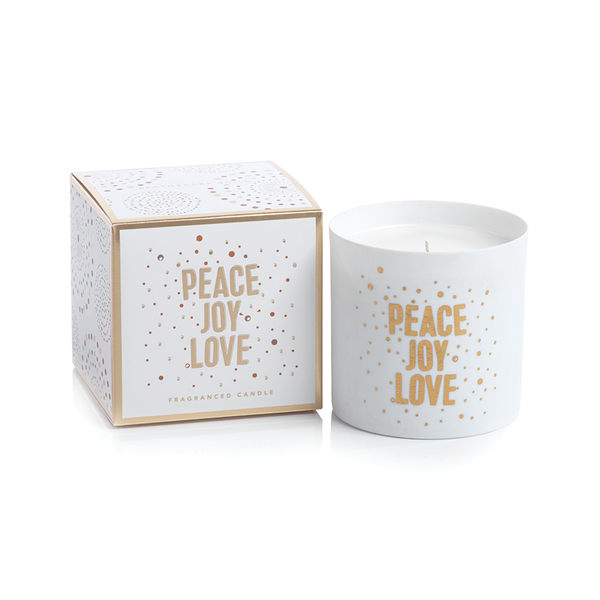 APOTHECARY GUILD PORCELAIN SCENTED CANDLE JAR:  PEACE JOY LOVE