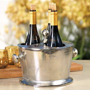 RAW ALUMINUM THREE BOTTLE WINE HOLDER