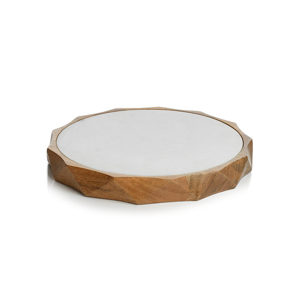 SAN RAMON WOOD AND WHITE MARBLE BOARD - SMALL