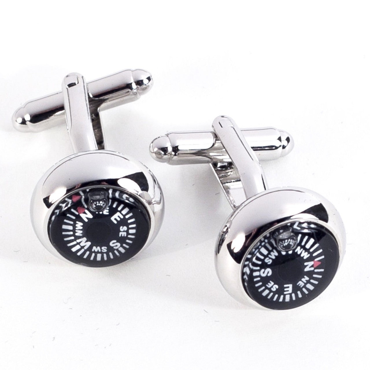 Bey-Berk Rhodium Plated Cufflinks w/Compass