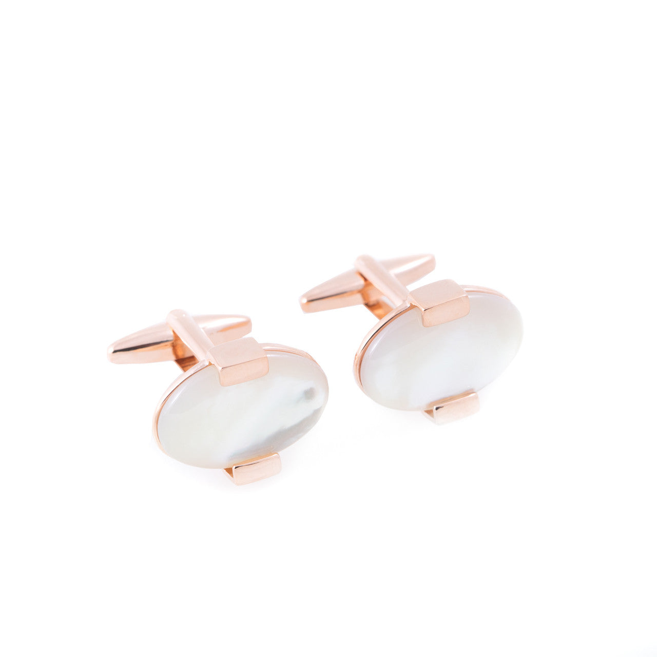 Bey-Berk Rose Gold & Mother of Pearl Rhodium Plated Cufflinks