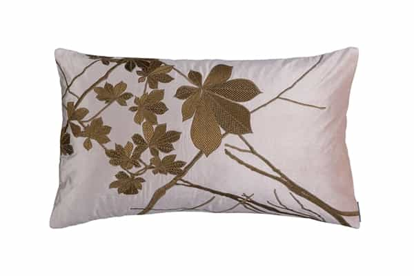 LEAF DECORATIVE PILLOW BLUSH VELVET WITH GOLD BASKETWEAVE AND ANTIQUE GOLD MACHINE EMBROIDERY 18X30