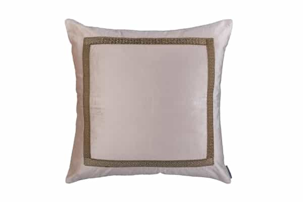 CAESAR DECORATIVE PILLOW BLUSH VELVET WITH GOLD BASKETWEAVE MACHINE EMBROIDERY 26X26