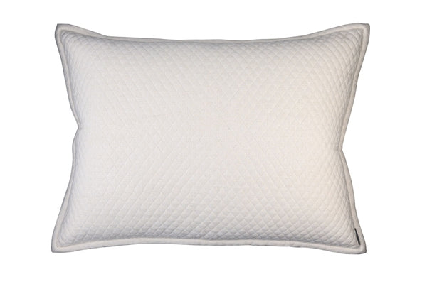 "LAURIE 1"" DIAMOND QUILTED LUXURY EURO PILLOW IVORY BASKETWEAVE 27X36"