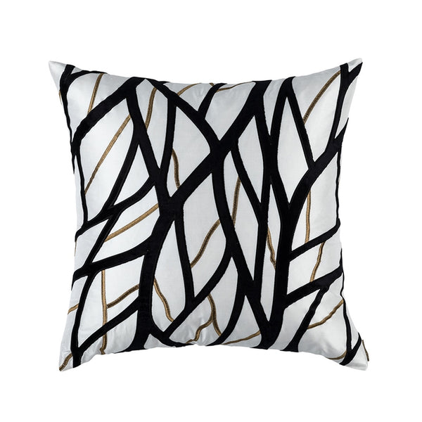 TWIG EUROPEAN PILLOW IVORY / GOLD / BLACK 28X28 (INSERT INCLUDED)