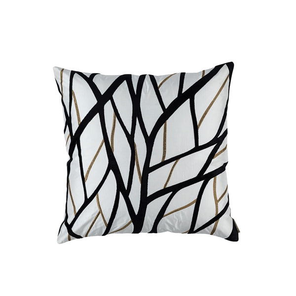 TWIG SQUARE PILLOW IVORY / GOLD / BLACK 24X24 (INSERT INCLUDED)