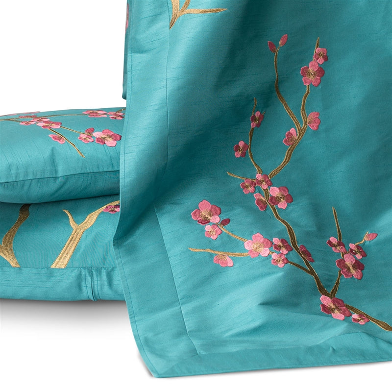 MING THROW PEACOCK VENETIAN SILK/ GOLD EMBROIDERY 42X98