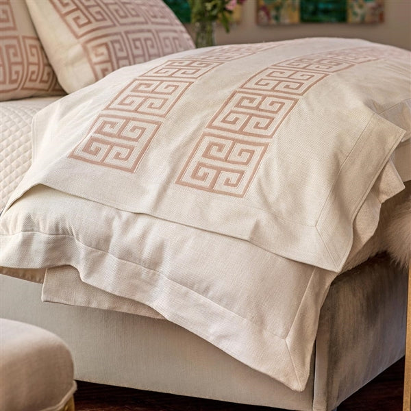 GUY THROW IVORY BASKETWEAVE WITH BLUSH VELVET APPLIQUE 36X98