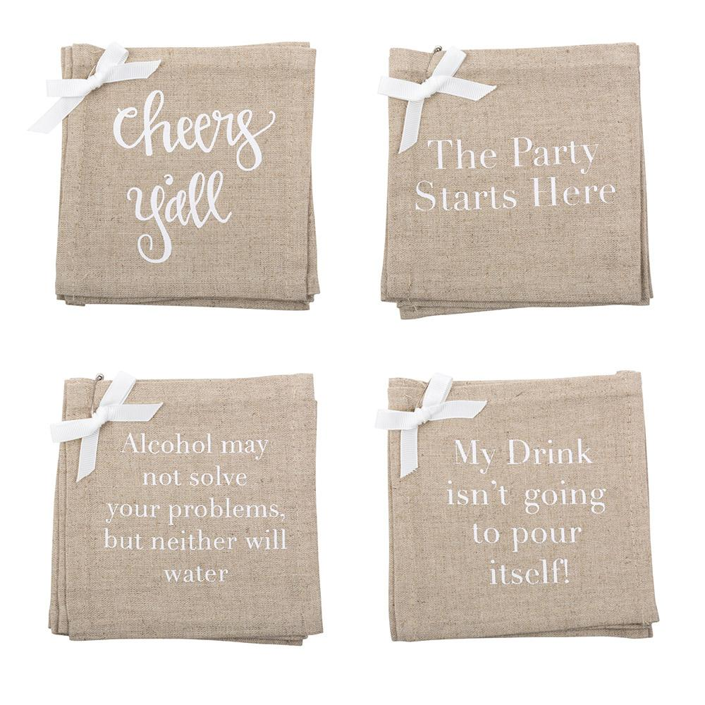 MAINSTREET COLLECTION -  Linen Cocktail Napkins/Coasters