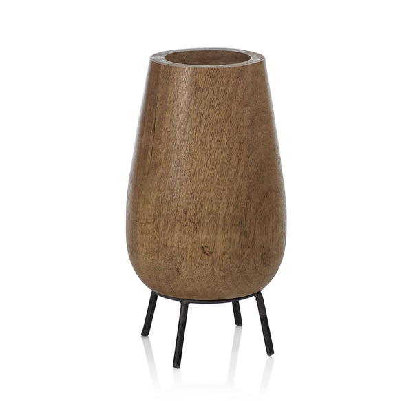 MANGO WOOD BOWL ON METAL STAND - TALL