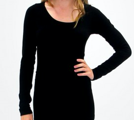ELIETIAN Solid Long-Sleeve Top with Round Collar - Black