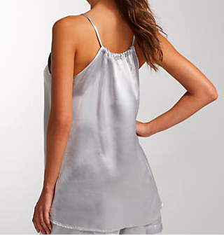 PJ HARLOW - ANNE Satin Spaghetti Strap Tank With Gathered Back in Dark Silver
