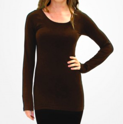 ELIETIAN Solid Long-Sleeve Top with Round Collar - Chocolate