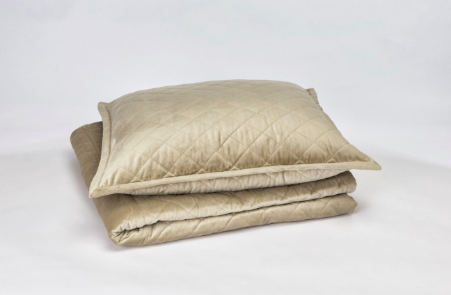 The Art of Home by Ann Gish Quilted Velvet Coverlet Set in Taupe