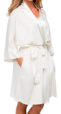 PJ Harlow Shala Knit Robe With Pockets And Satin Trim in Pearl