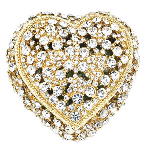 OLIVIA RIEGEL - GOLD CRYSTAL HEART BOX