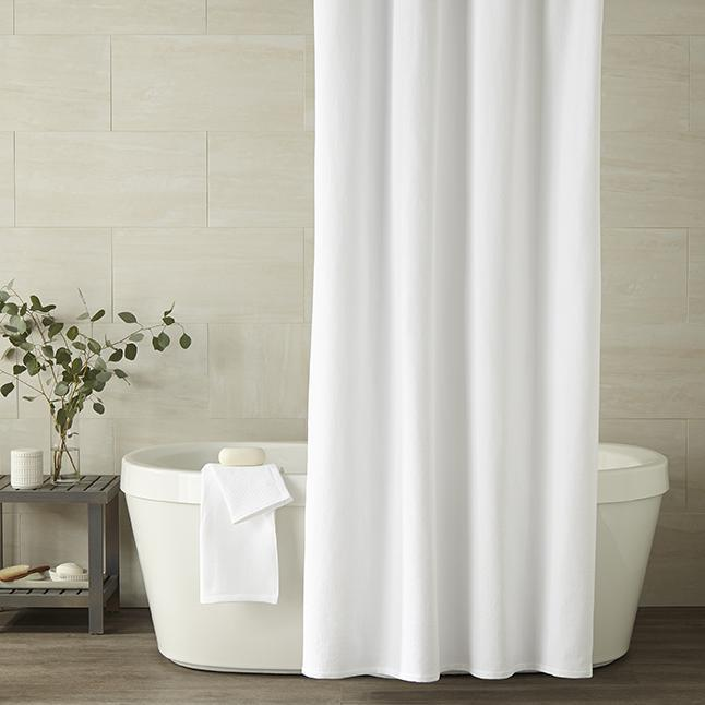 PEACOCK ALLEY SPA SHOWER CURTAIN  WHITE