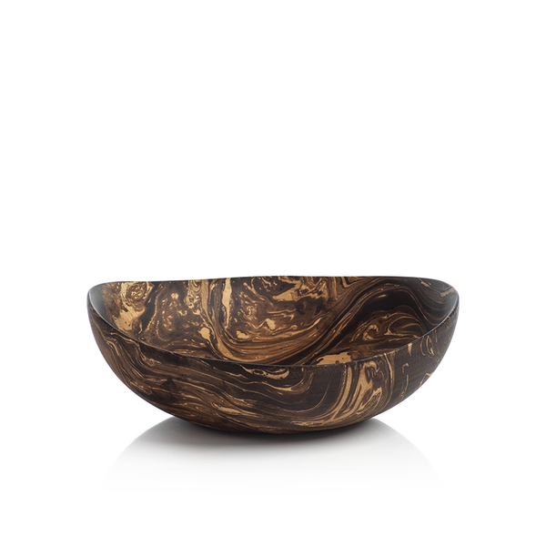 MANGO WOOD MARBLEIZED BOWL - SHALLOW