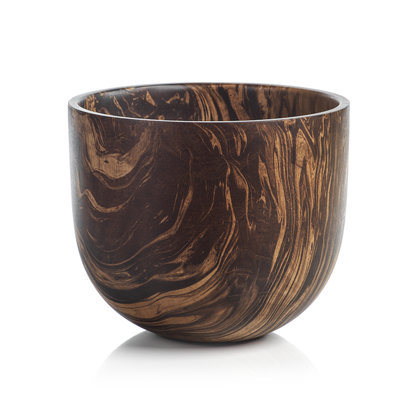Mango Wood Marbleized Bowl -MANGO WOOD MARBLEIZED BOWL - STRAIGHT SIDED