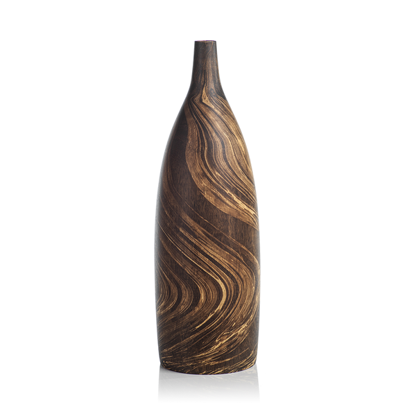 MANGO WOOD MARBLEIZED VASE