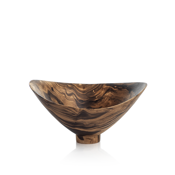 MANGO WOOD MARBLEIZED BOWL - FOOTED BUTTERFLY