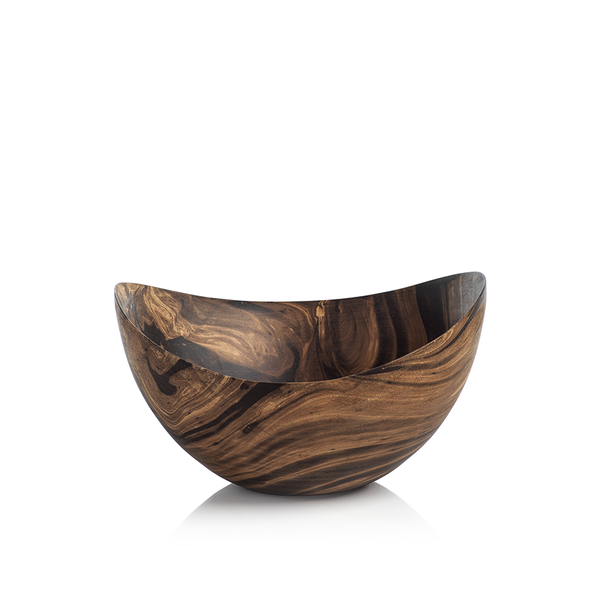 MANGO WOOD MARBLEIZED BOWL - BUTTERFLY