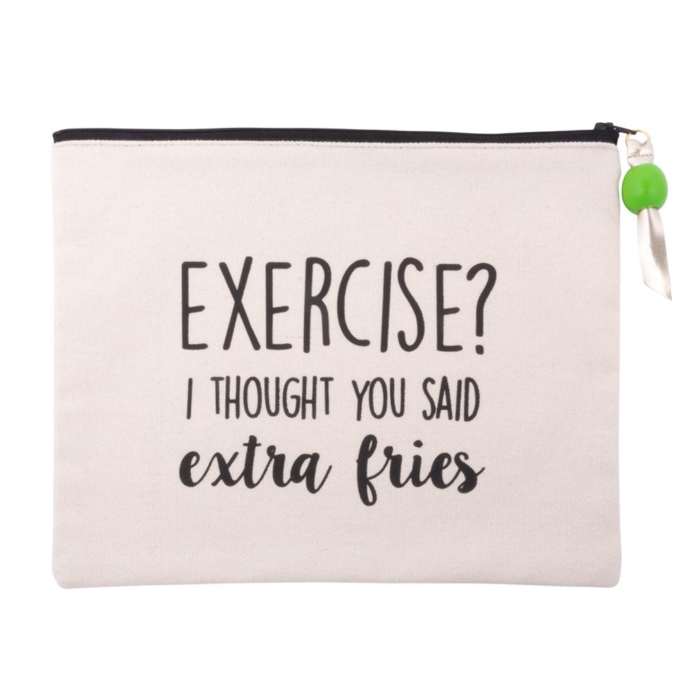 "MAINSTREET COLLECTION - ""Extra Fries"" Quote Cosmetic Pouch"