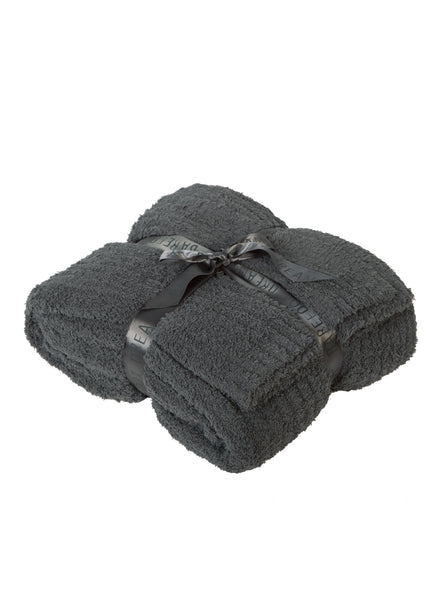 BAREFOOT DREAMS - COZYCHIC RIBBED Q/K BLANKET (CHARCOAL)